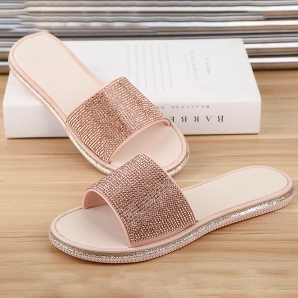 1837e49e5f04 PU Pool Slippers Pink Rose Gold Rhinestone Sandals